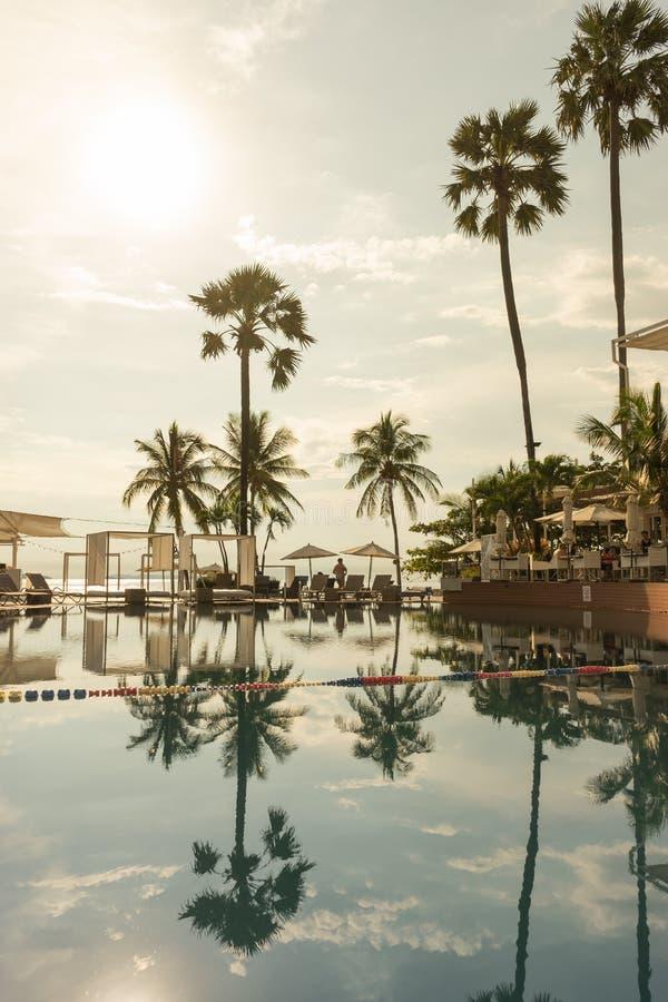 Swimming pool. Luxury hotel in Pattaya, Thailand. Summer beach vacation stock photo