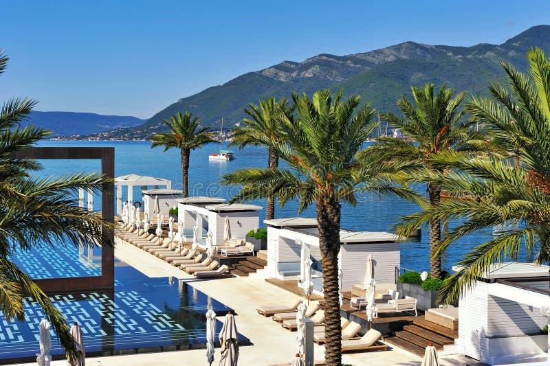 Swimming pool at luxury resort stock photos