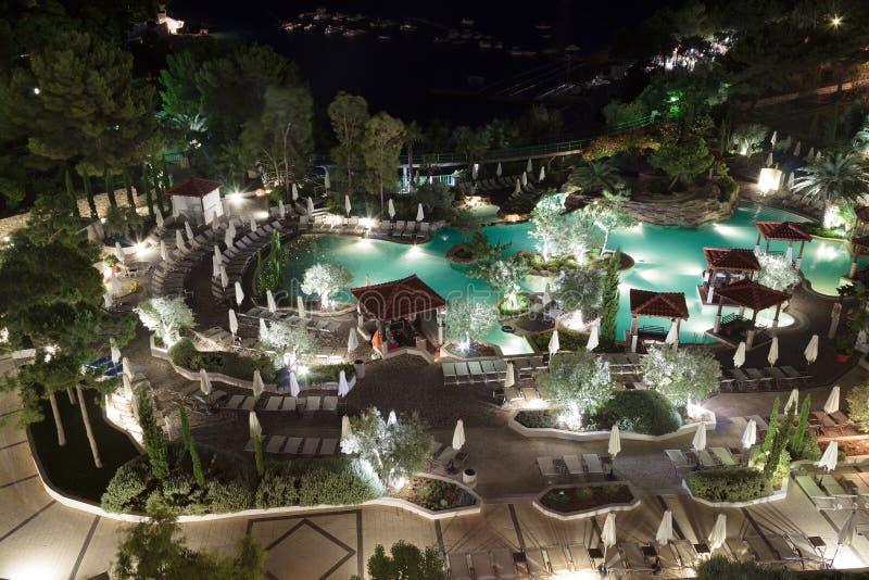 Download Swimming pool at night stock image. Image of leisure - 25939959