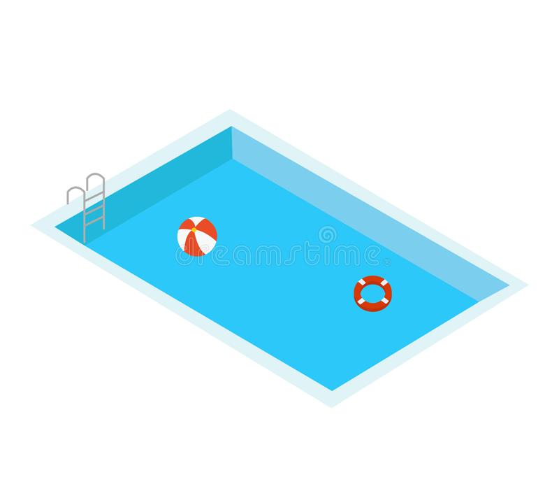 Free Swimming Pool On White Background. Flat Style. Hello Summer. Blue Swimming Pool Water Background With Floating Swim Ring And Ball Stock Photo - 156581310