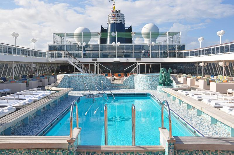 Swimming pool onboard Crystal Serenity cruise ship open deck stock images