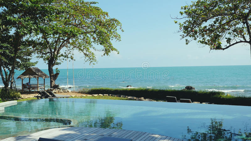Swimming pool and palm trees on seaside in Koh Samui. Thailand stock photos