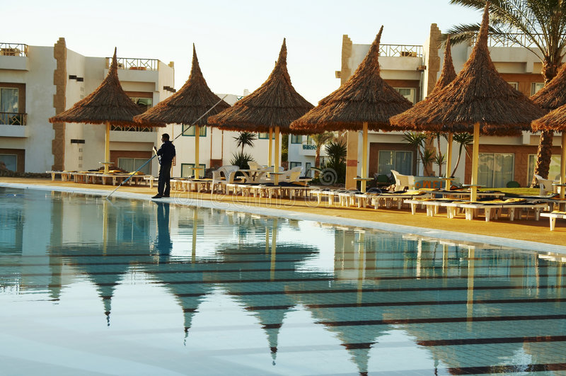 Swimming-pool and parasols group