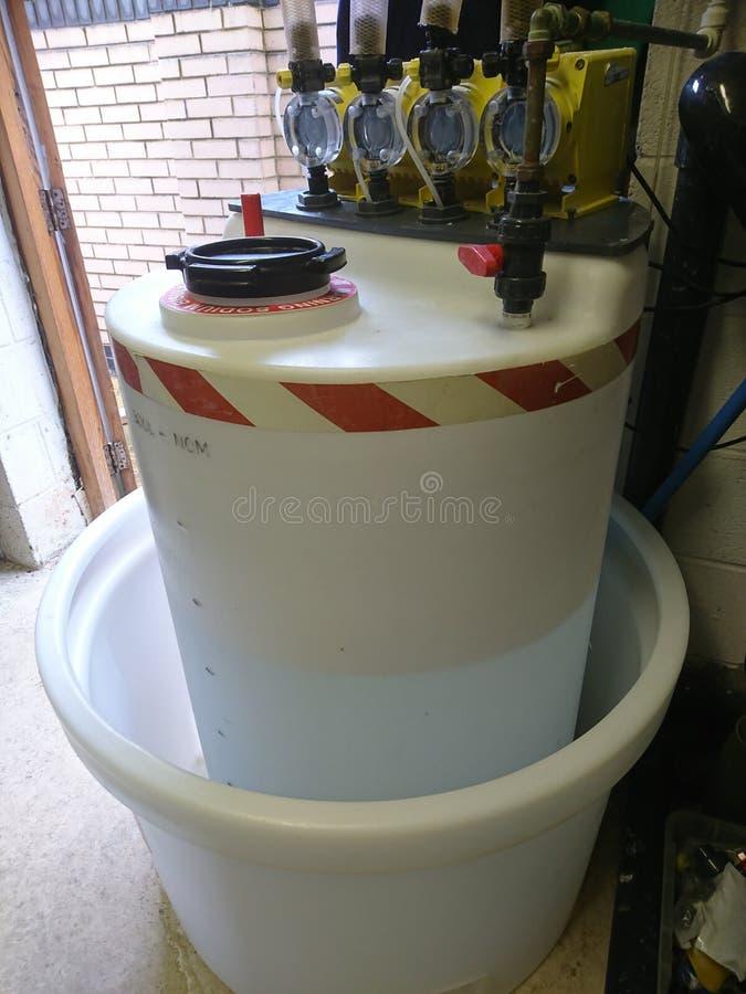 Swimming Pool Plant Acid Daytank stock image