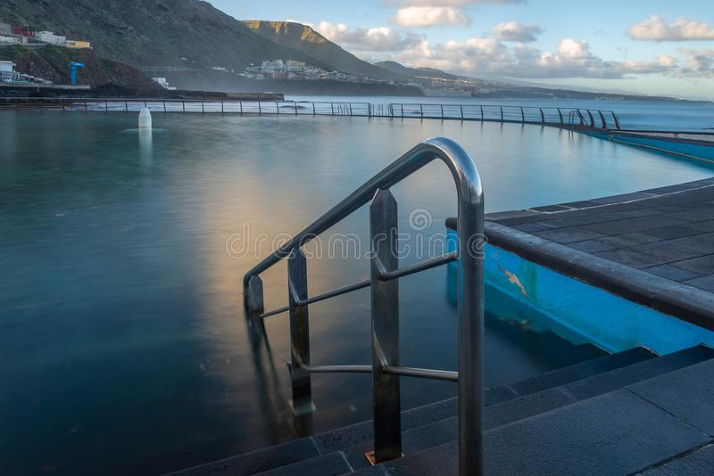 Swimming pool of Punta del Hidalgo, Tenerife, Spain stock images