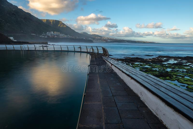 Swimming pool of Punta del Hidalgo, Tenerife, Spain royalty free stock photography