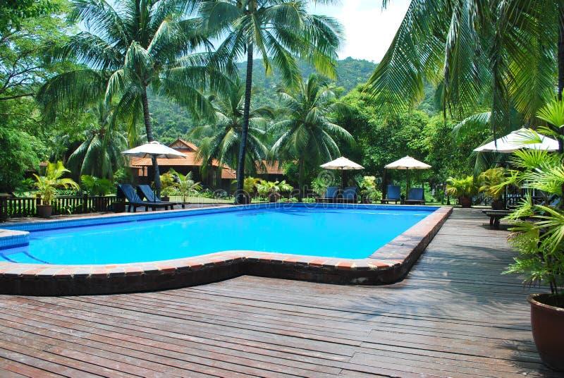 Swimming pool in resort stock images