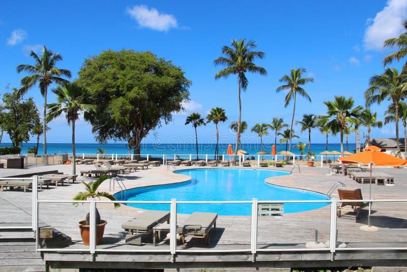 Swimming pool at resort, Guadeloupe stock image