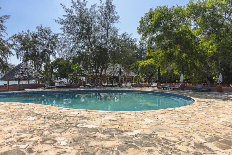 Swimming pool Resort Hotel on Prison Island stock image