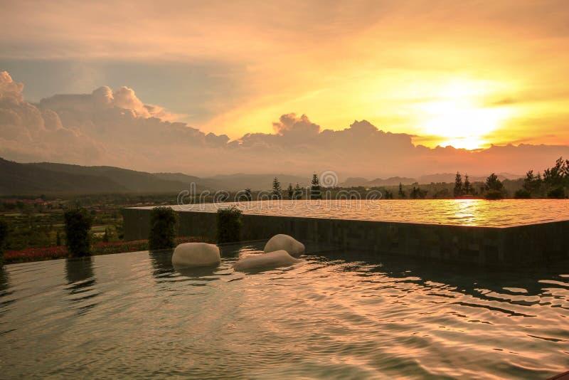 Swimming pool in resort royalty free stock photo