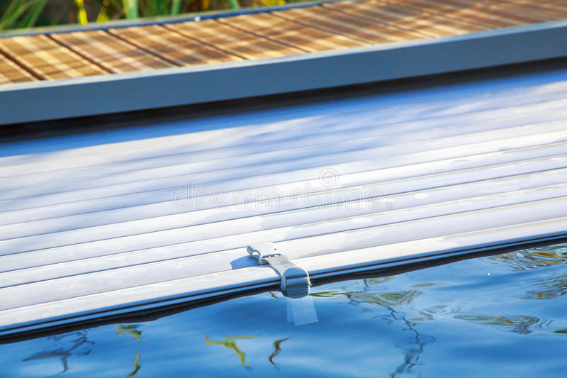 Attractive Closeup On Swimming Pool Roller Shutter Covers