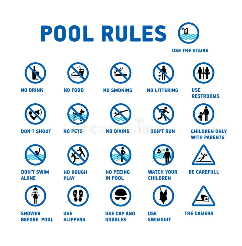 Swimming pool rules. Set of icons and symbol for pool. stock illustration