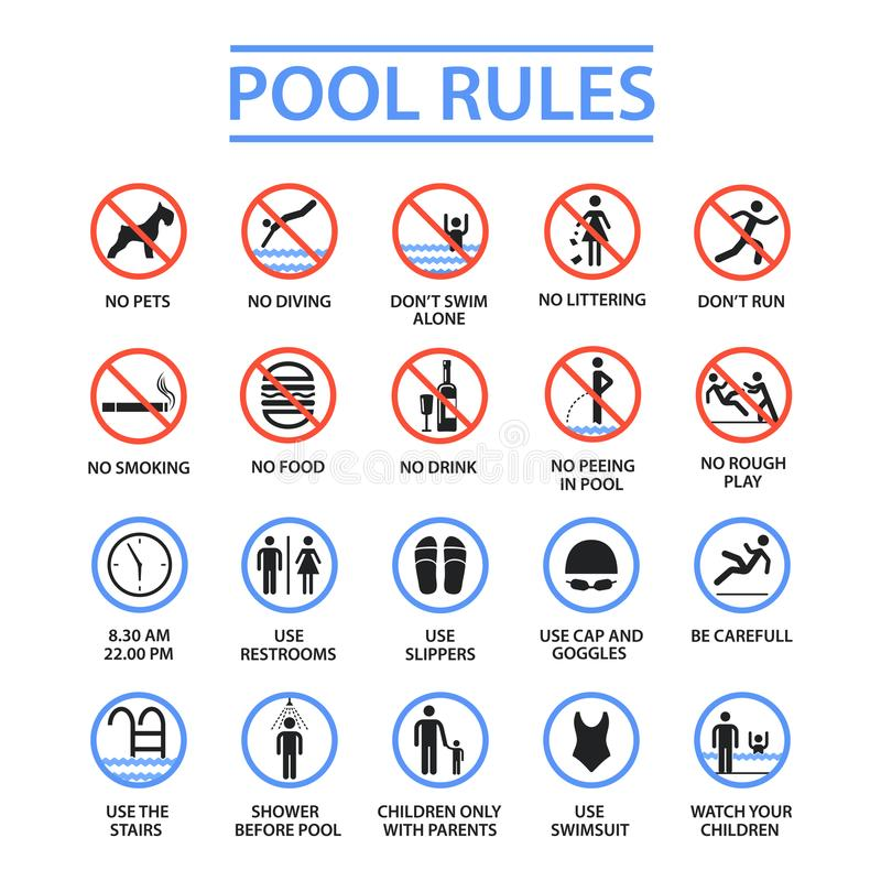 Swimming pool rules vector illustration