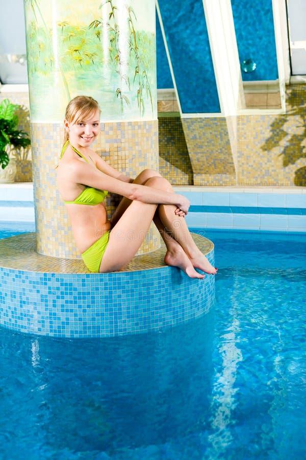 Swimming pool's blonde siren stock images