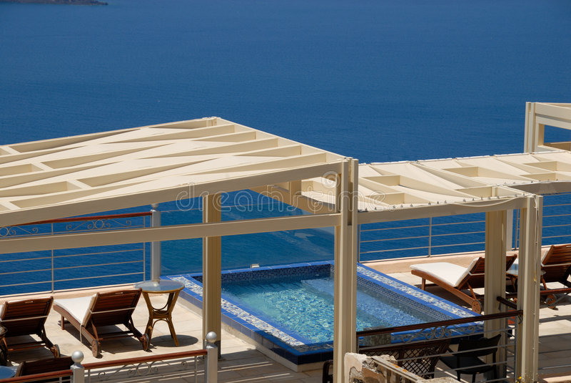 Swimming pool seaside stock image
