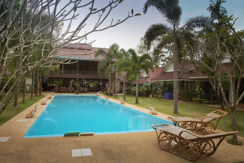 Swimming pool in spa resort stock image