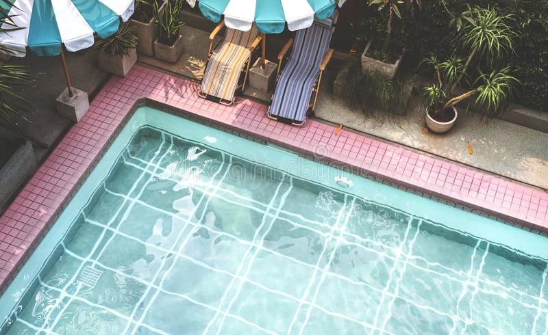Swimming pool in summer time royalty free stock images
