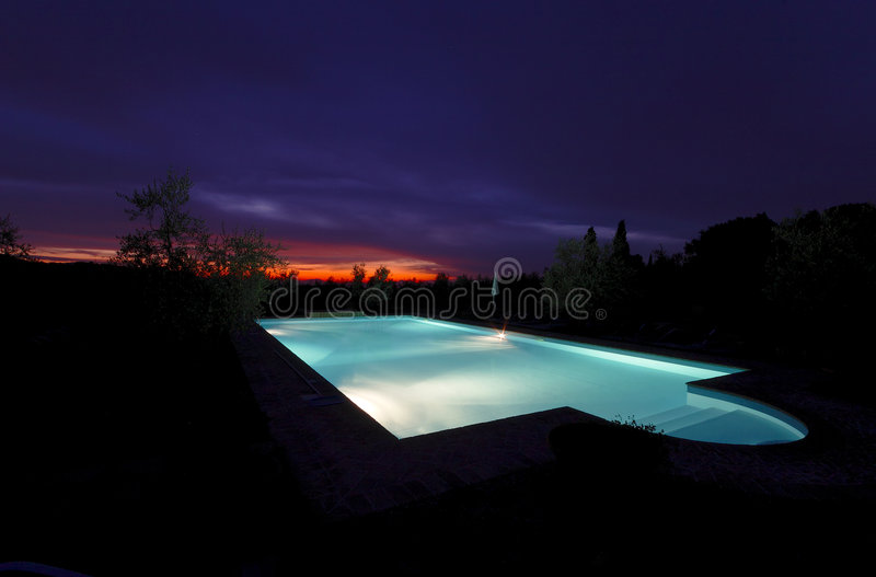 Download Swimming Pool At/after Sunset Stock Image - Image: 2760401