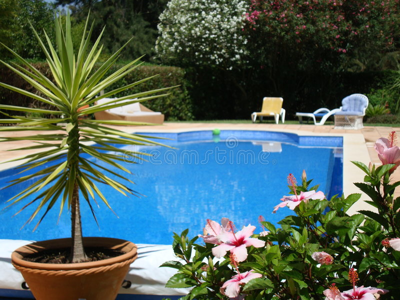 Swimming pool terrace royalty free stock photos