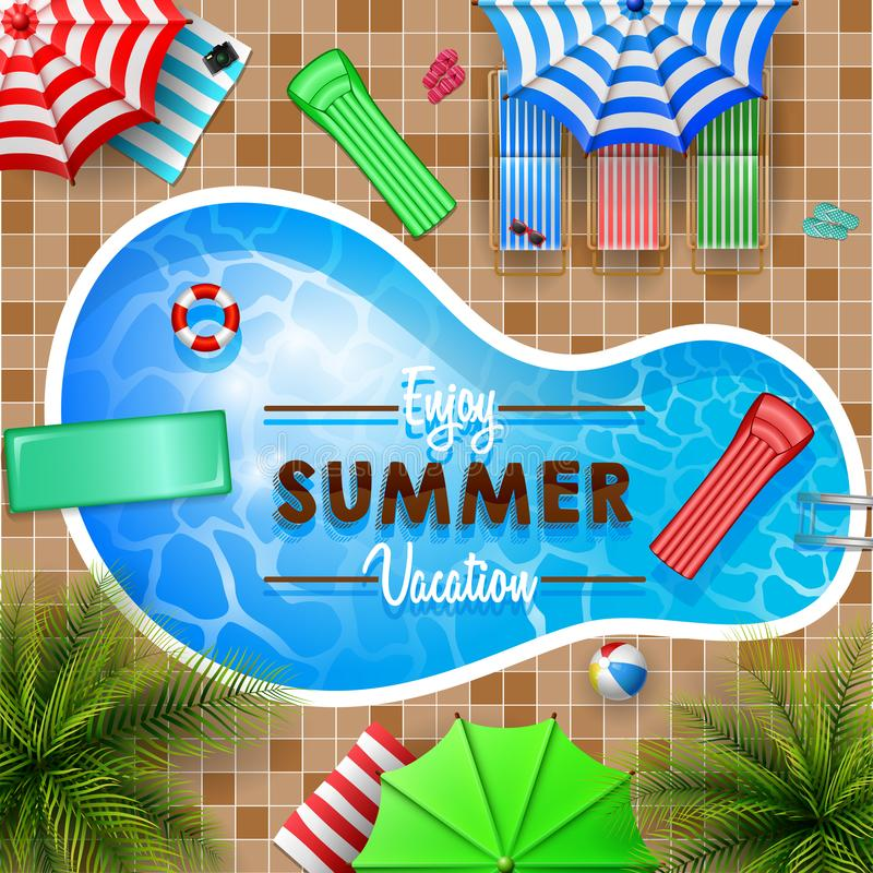 Swimming pool top view with umbrellas, palm trees, loungers, air mattress vector illustration