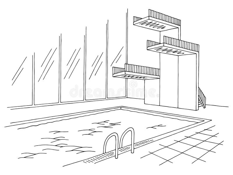Swimming pool tower graphic black white interior sketch illustration vector. Swimming pool tower graphic black white interior sketch illustration stock illustration