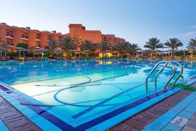 Download Swimming Pool Of Tropical Resort In Hurghada At Night Stock Image - Image: 30965411