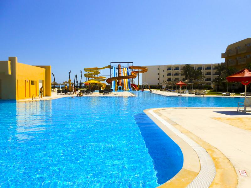 Swimming pool in Tunis royalty free stock photo