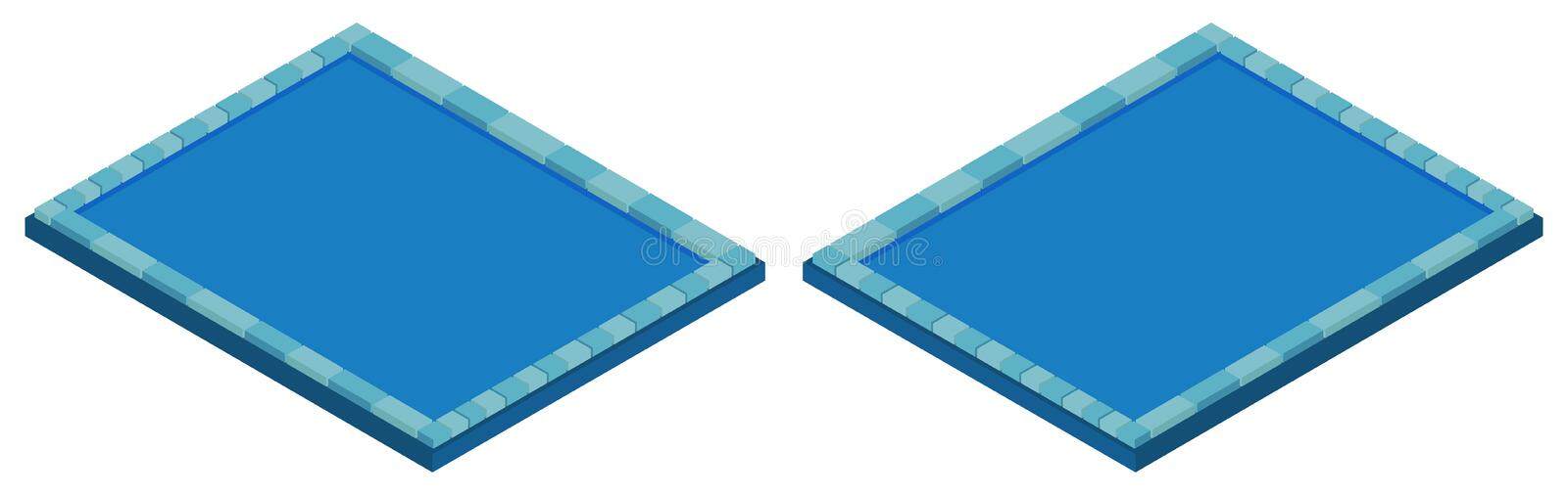 Swimming pool in two angles. Illustration stock illustration