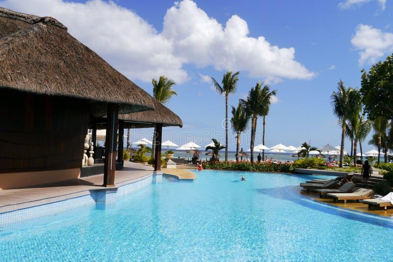 Swimming pool in wonderful Maurtius resort stock photos