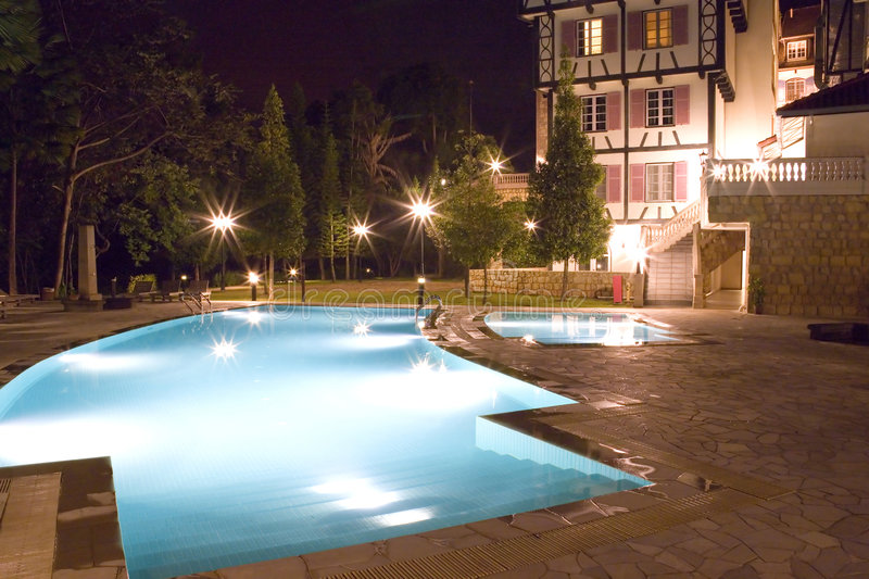Swimming Pools at Night. Image of of swimming pools at night stock images