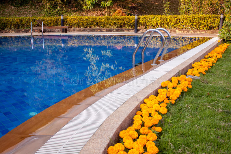 Swimming pools were beautifully. Decorated royalty free stock photography
