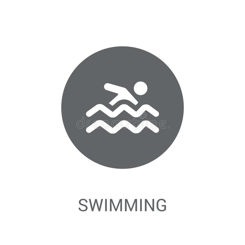 Swimming sign icon. Trendy Swimming sign logo concept on white b. Ackground from Traffic Signs collection. Suitable for use on web apps, mobile apps and print vector illustration