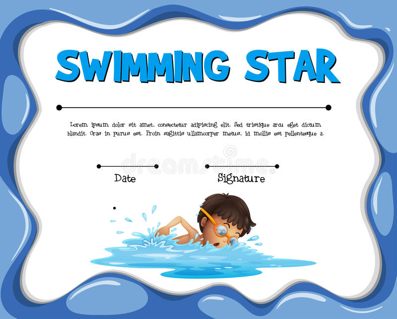 Swimming Star Certification Template With Swimmer Stock Vector ...