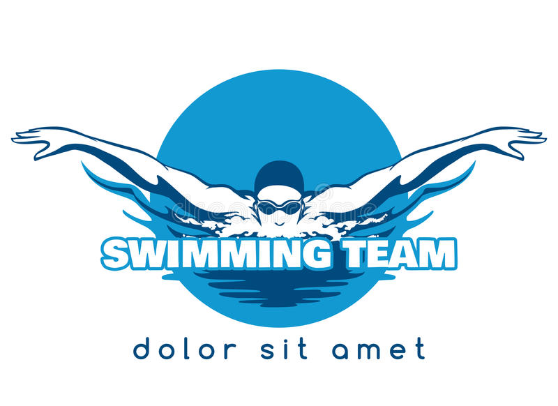 Swimming Team Vector Logo stock illustration