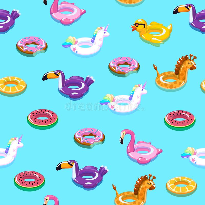 Swimming toys seamless pattern. Pool floating summer inflatable toy sea print float kid fashion textile print cartoon. Swimming toys seamless pattern. Pool vector illustration