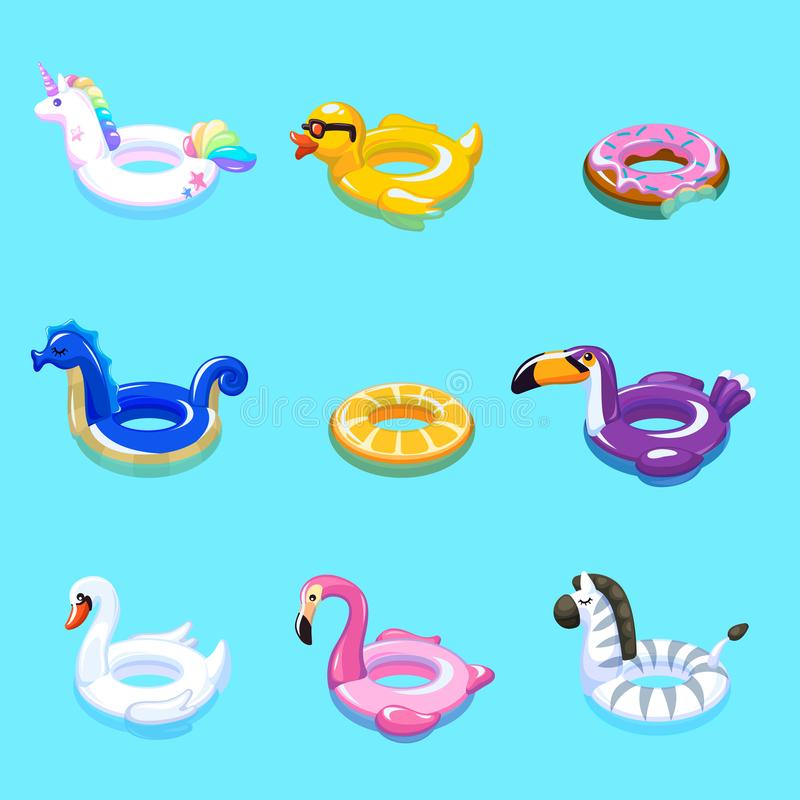 Swimming toys. Swim summer water pool inflatable toy animal float beach sea rings floating rescue marine cartoon set stock illustration