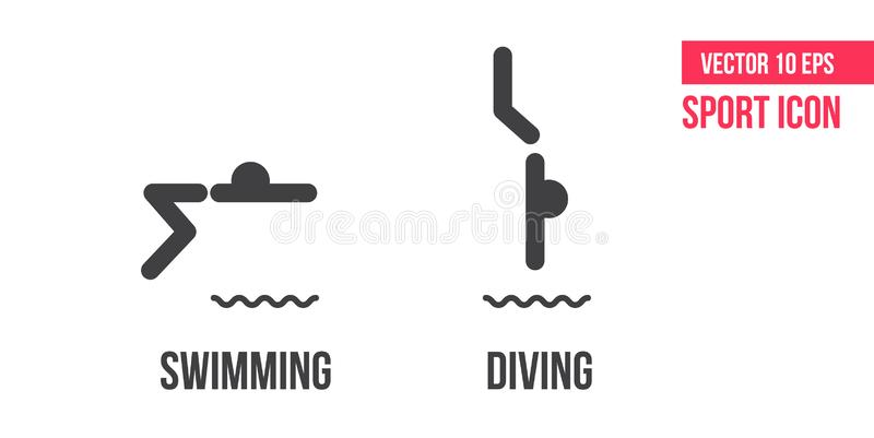 Swimming und diving sign icon, logo. Set of summer sports vector line icons, logo. athlete pictogram stock illustration