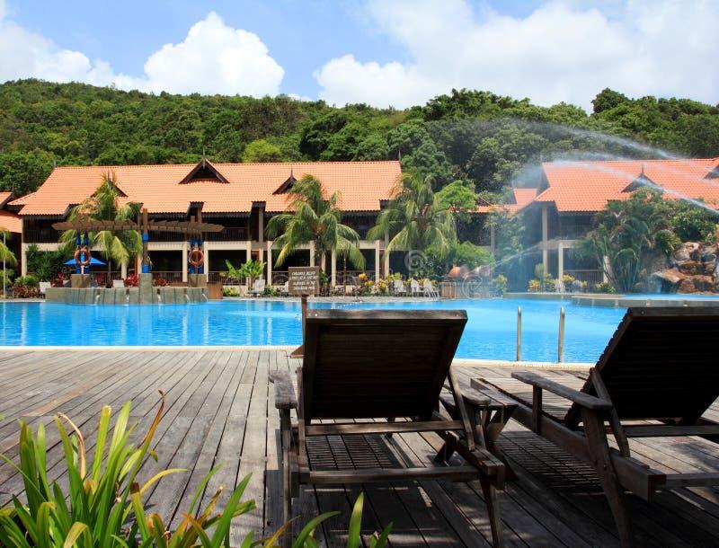 Swimmingpool in der Rücksortierung lizenzfreie stockfotos