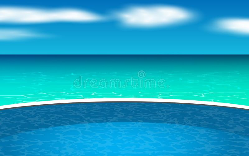 Swimmingpool im Freien am Strand lizenzfreie abbildung