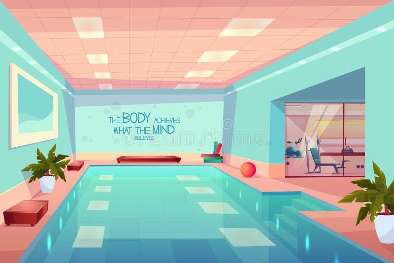 Swimmingpool im Turnhalleninnenraum, leeres Sportzentrum stock abbildung