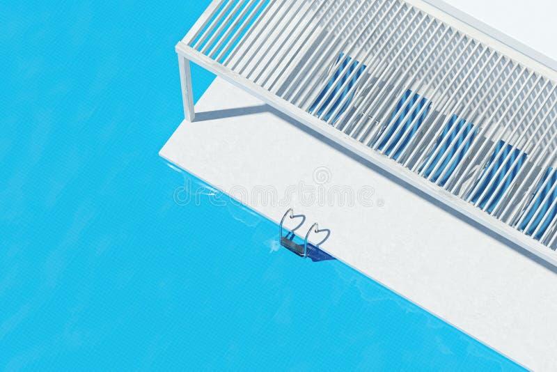 Swimmingpool mit blauen Klappstühlen, Draufsicht lizenzfreie abbildung