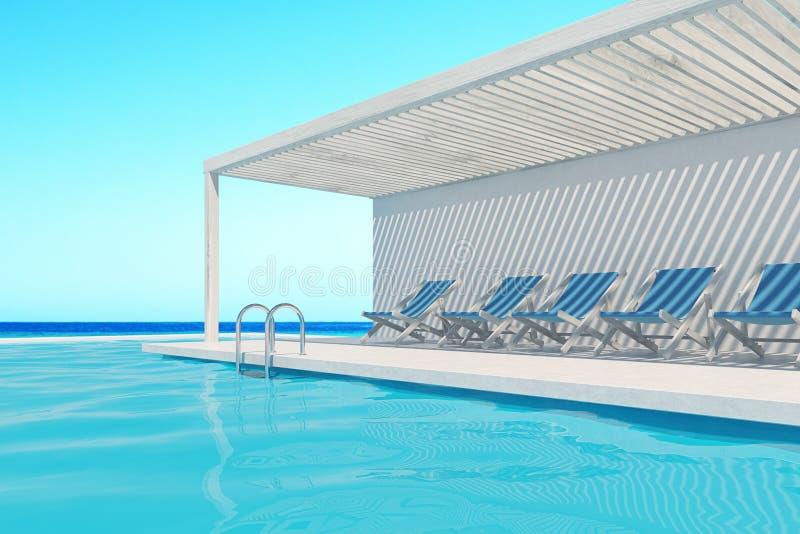 Swimmingpool mit blauen Klappstühlen, Ozean lizenzfreie abbildung