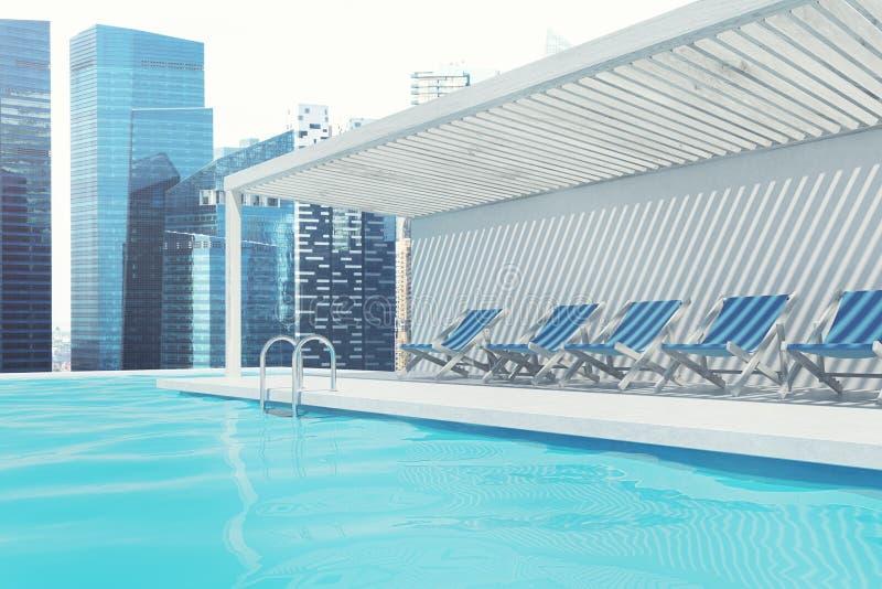 Swimmingpool mit blauen Klappstühlen, Stadt vektor abbildung