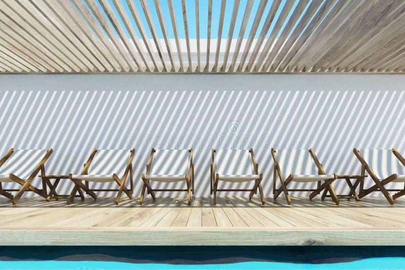 Swimmingpool mit weißen Klappstühlen vektor abbildung