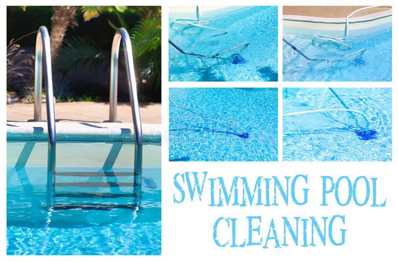 Swimmingpool-Reinigungs-Collage stockbild