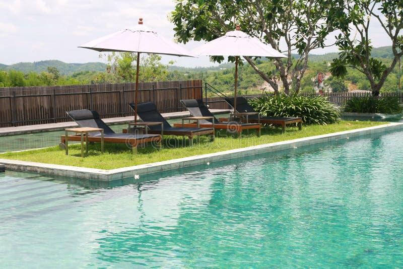Swimmingpool. Sun deck and swimmingpool, outdoor royalty free stock images