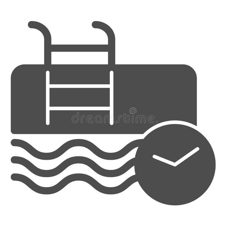 Swimmingpool und feste Ikone der Uhr Sportvektorillustration lokalisiert auf Wei? Schwimmender Stunden Glyph-Artentwurf lizenzfreie abbildung