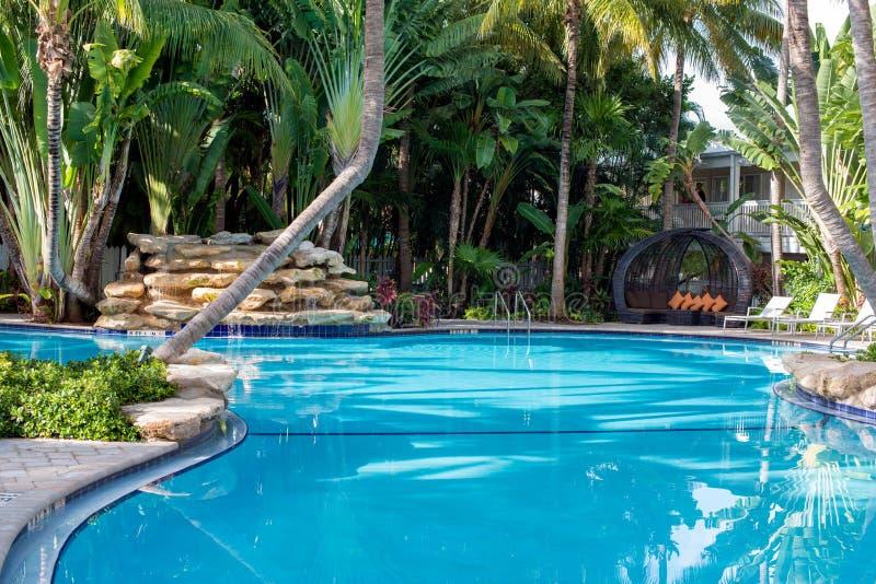 Swimmingpool und Wasserfall stockfotos