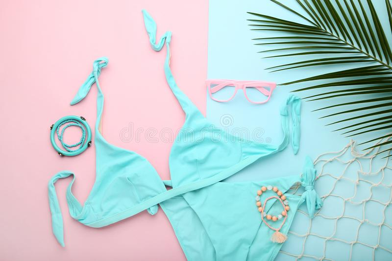 Swimsuit with green leafs royalty free stock photo