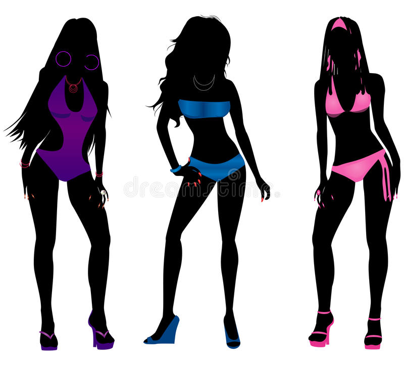 Free Swimsuit Silhouettes 3 Stock Image - 30801051